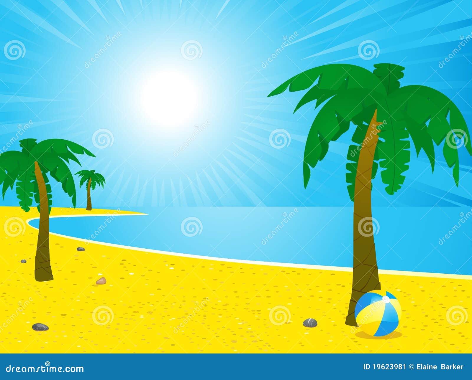 Playa Con Palmera Animada Fondos De Pantalla