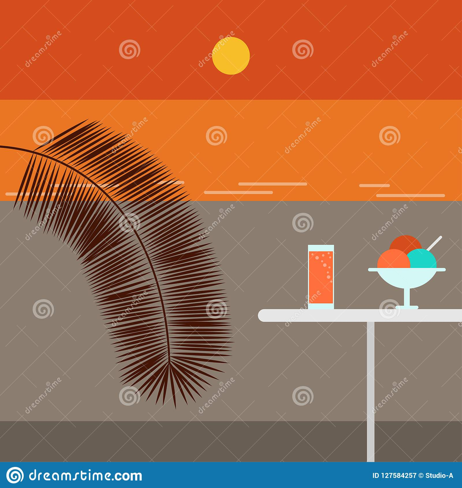 Praia e café do por do sol Ilustração do vetor