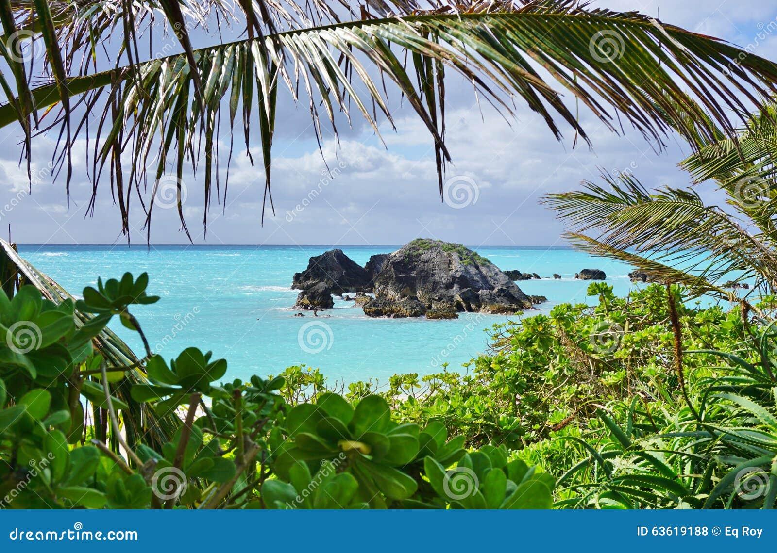 Praia em ferradura da baía em Bermuda