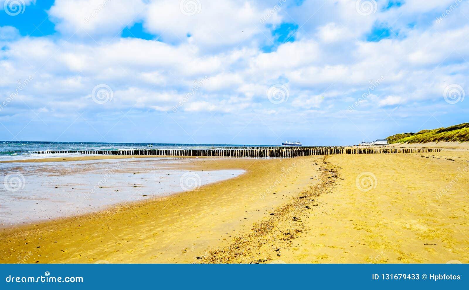 Praia no Mar do Norte e Westerschelde perto da cidade do porto de Vlissingen na província de Zeeland