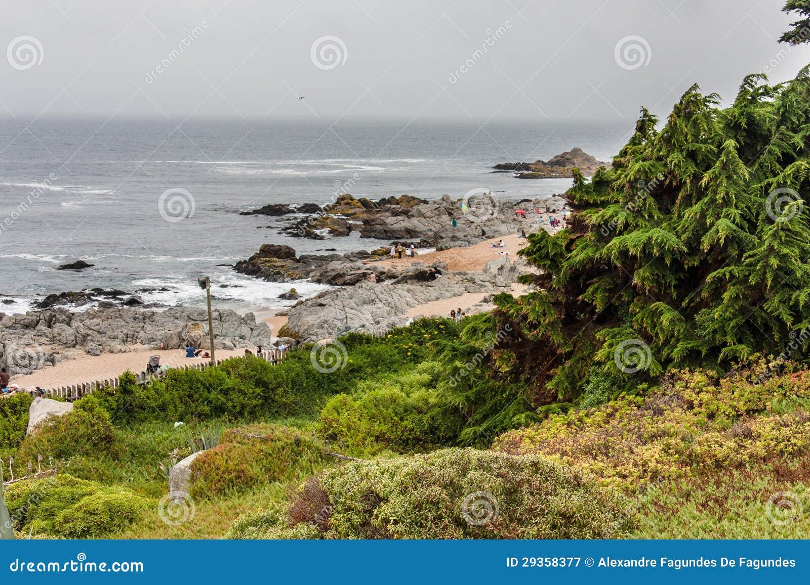 Praia o Chile de Isla Negra