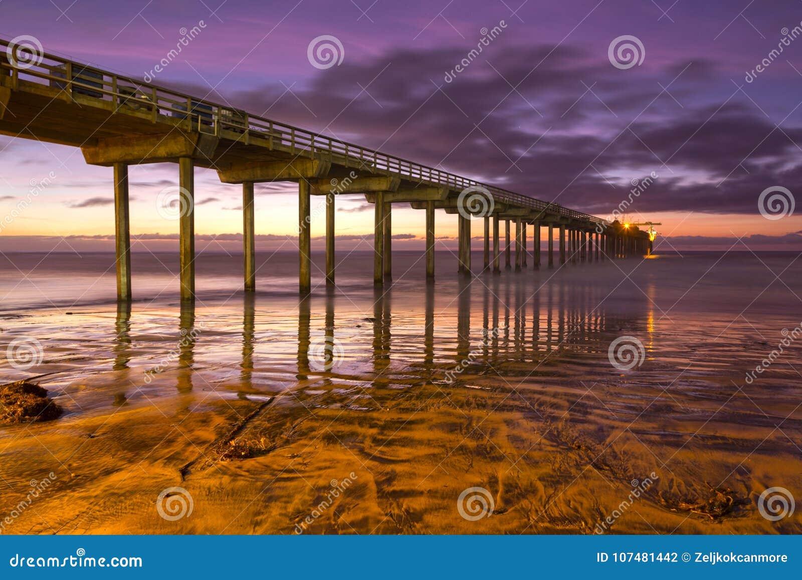 Praia San Diego California de Scripps Pier Sunset Colors La Jolla Shores