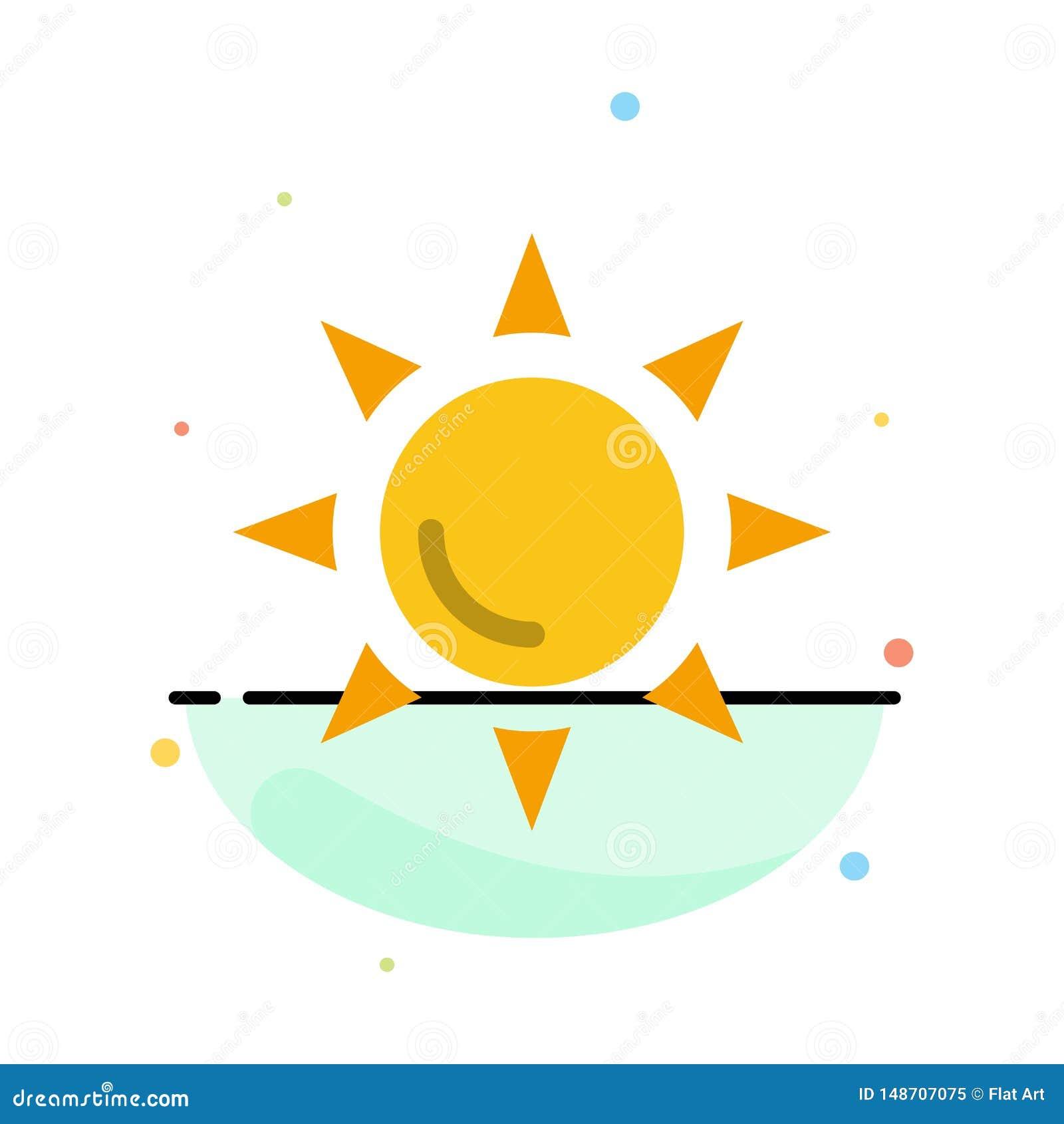 Praia, Shinning, molde liso do ícone da cor do sumário de Sun
