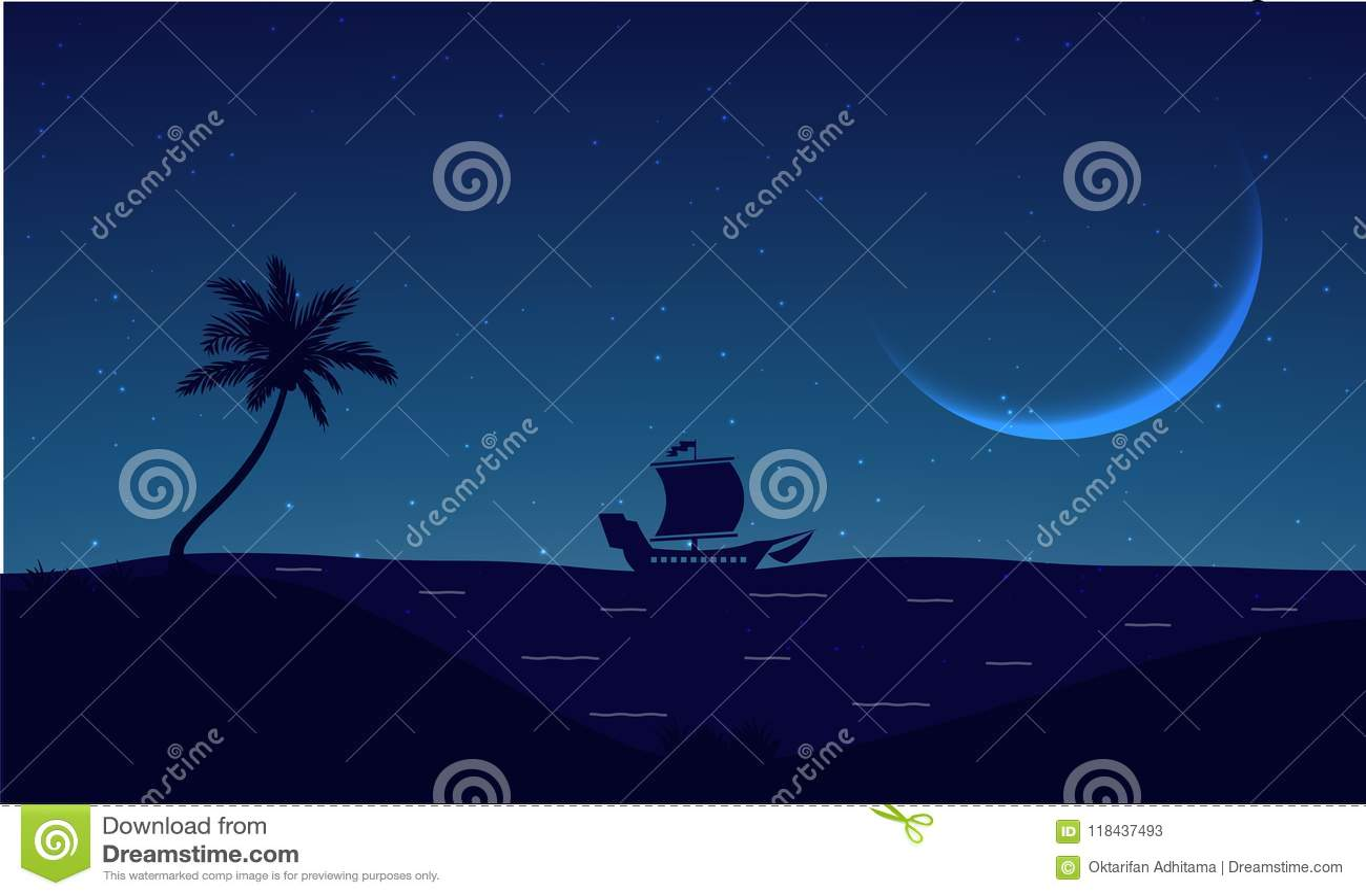 Praia Silhouete da noite