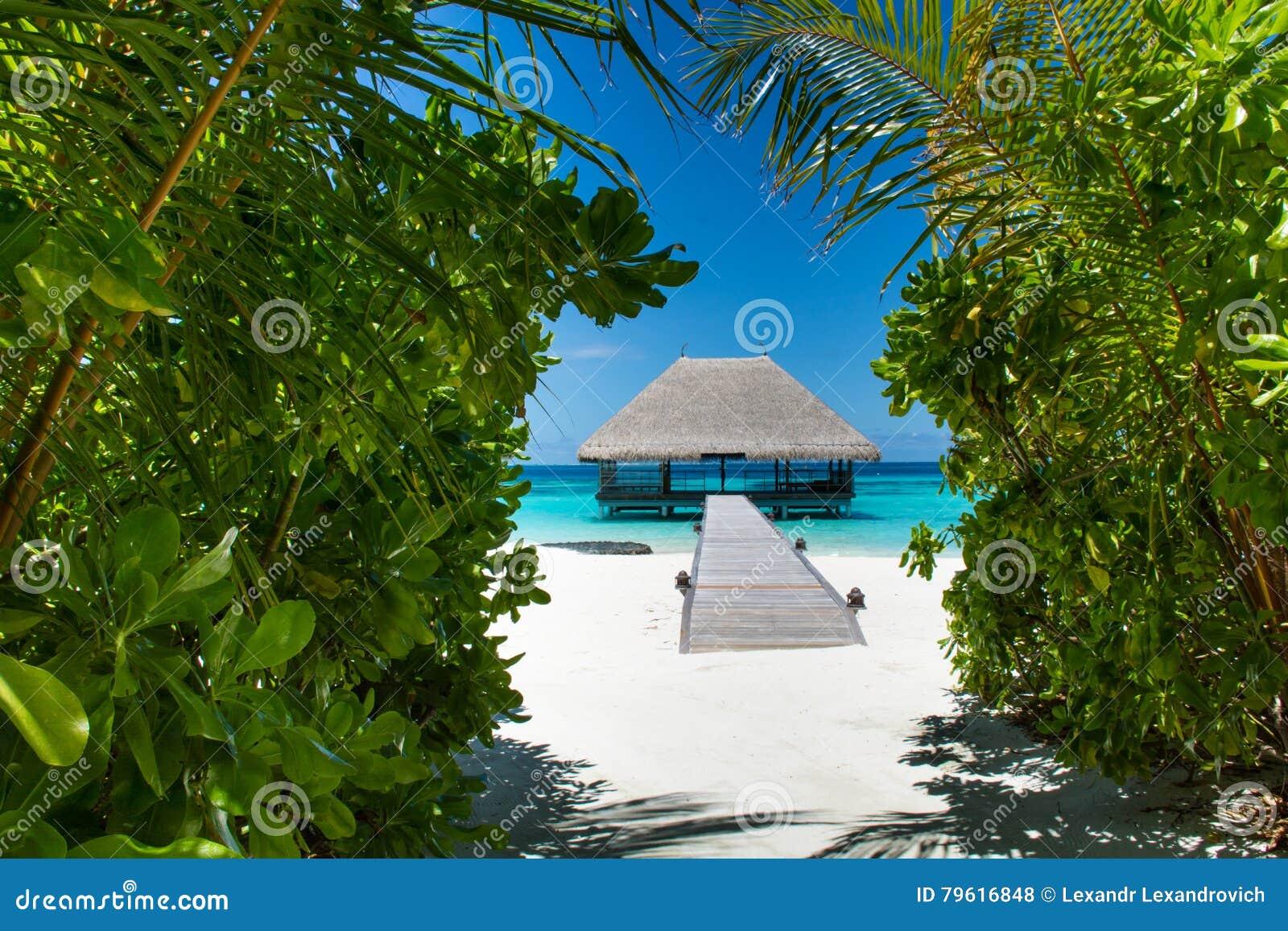 Praia tropical com a casa de madeira em Maldivas