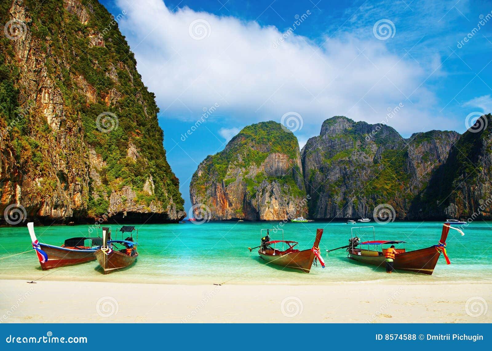 Praia tropical, louro do Maya, Tailândia