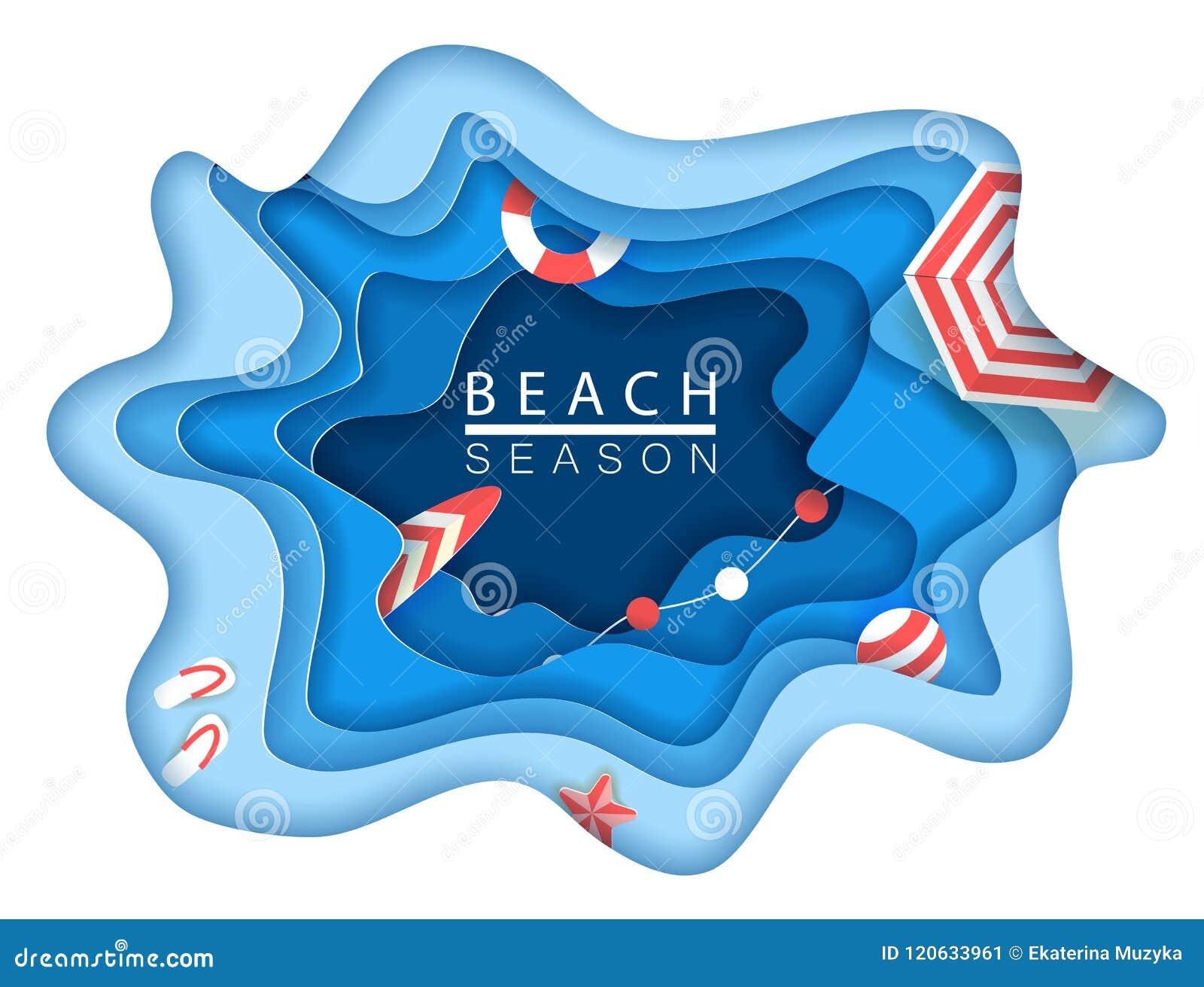 Praia tropical no estilo de papel da arte Ilustração do corte do papel da opinião superior do vetor Molde do cartaz do conceito d