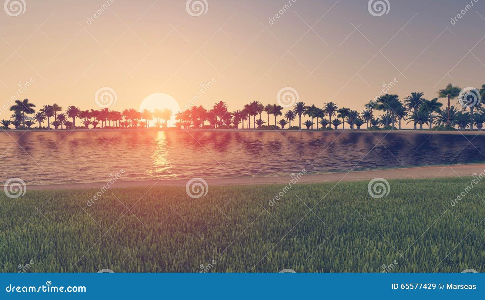 Praia tropical vazia no por do sol