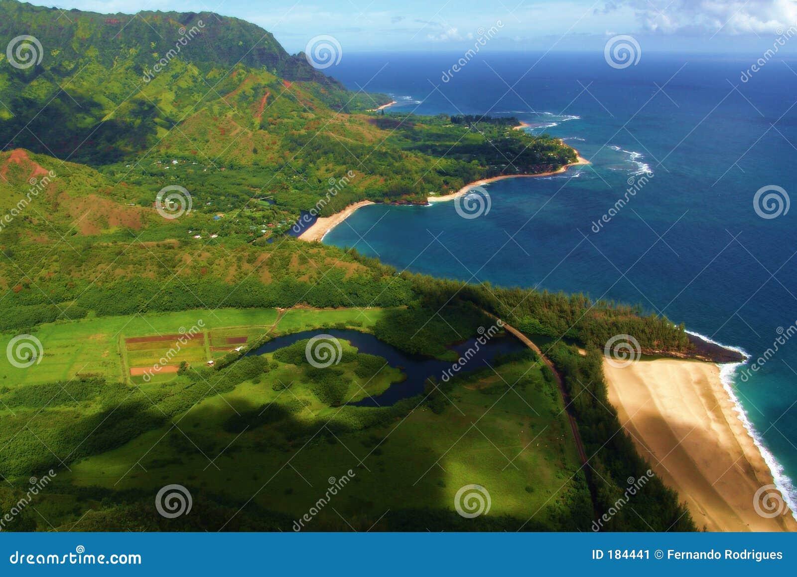 Praia vista do mid-air