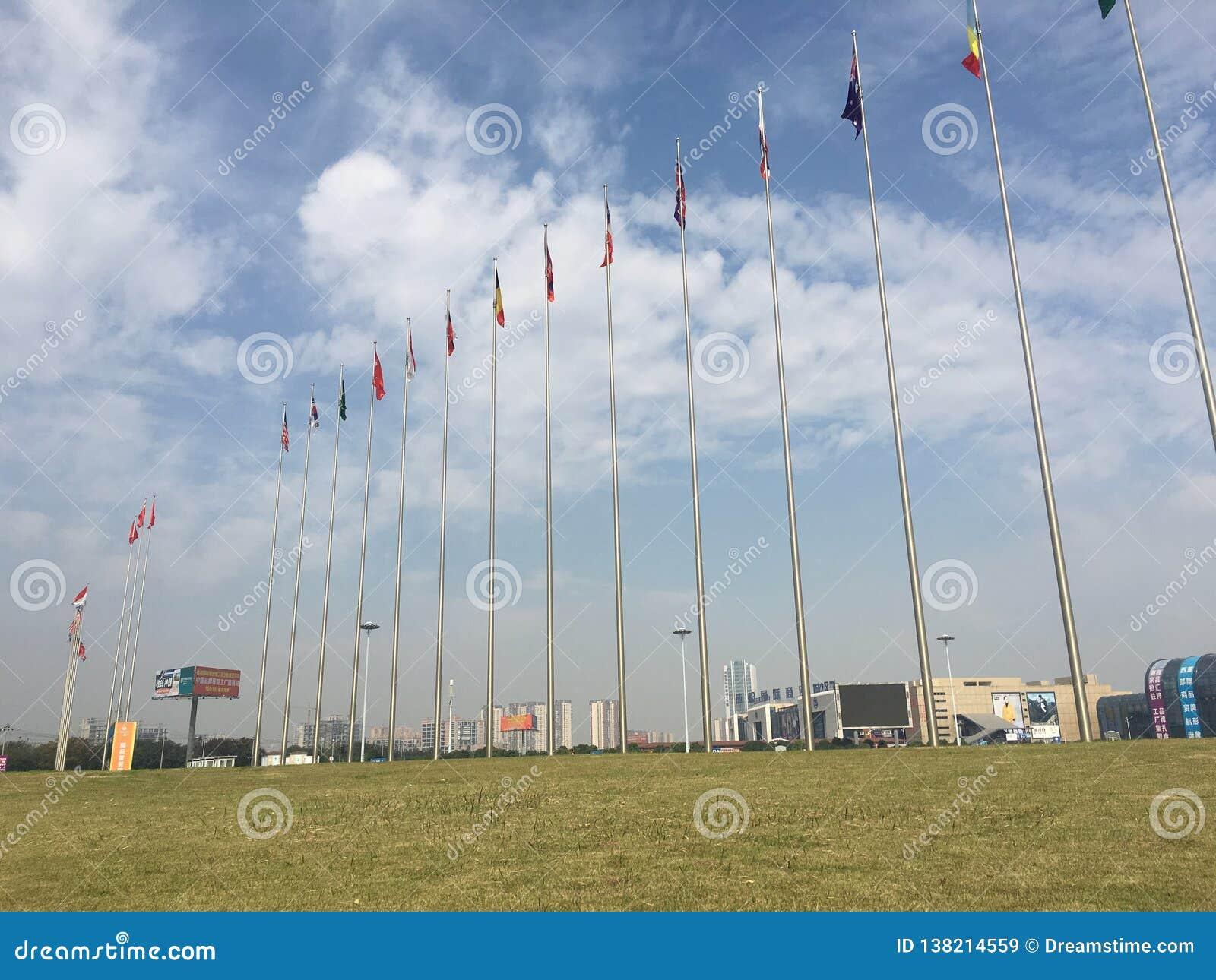 Prairie de drapeaux nationaux