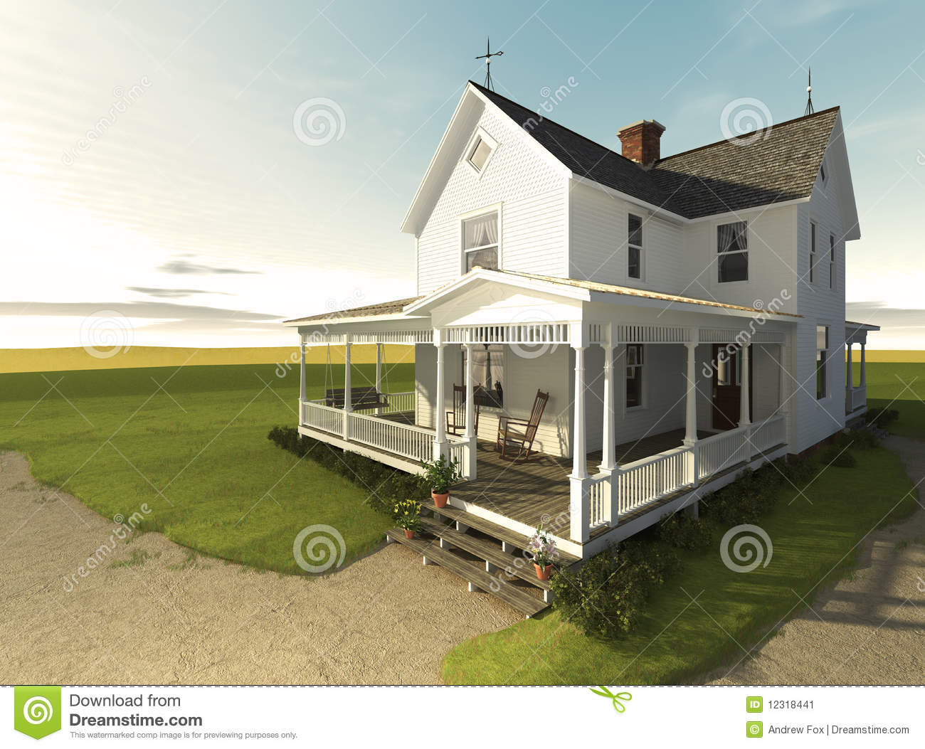 Photorealistic rendering of a white clapboard farmhouse from the ...
