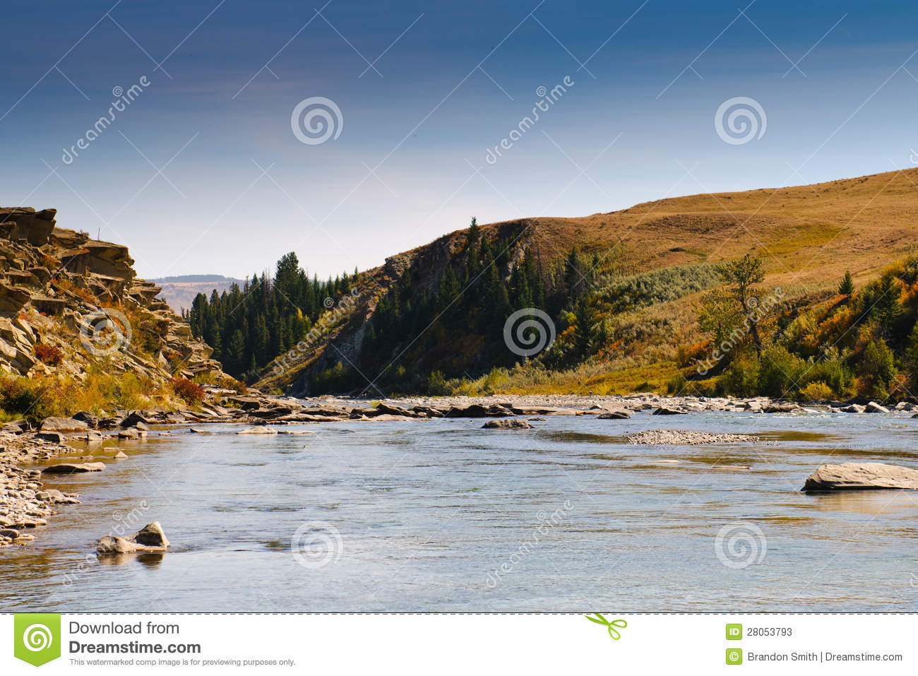 Download Prairie River stock image. Image of valley, fall, summer - 28053793