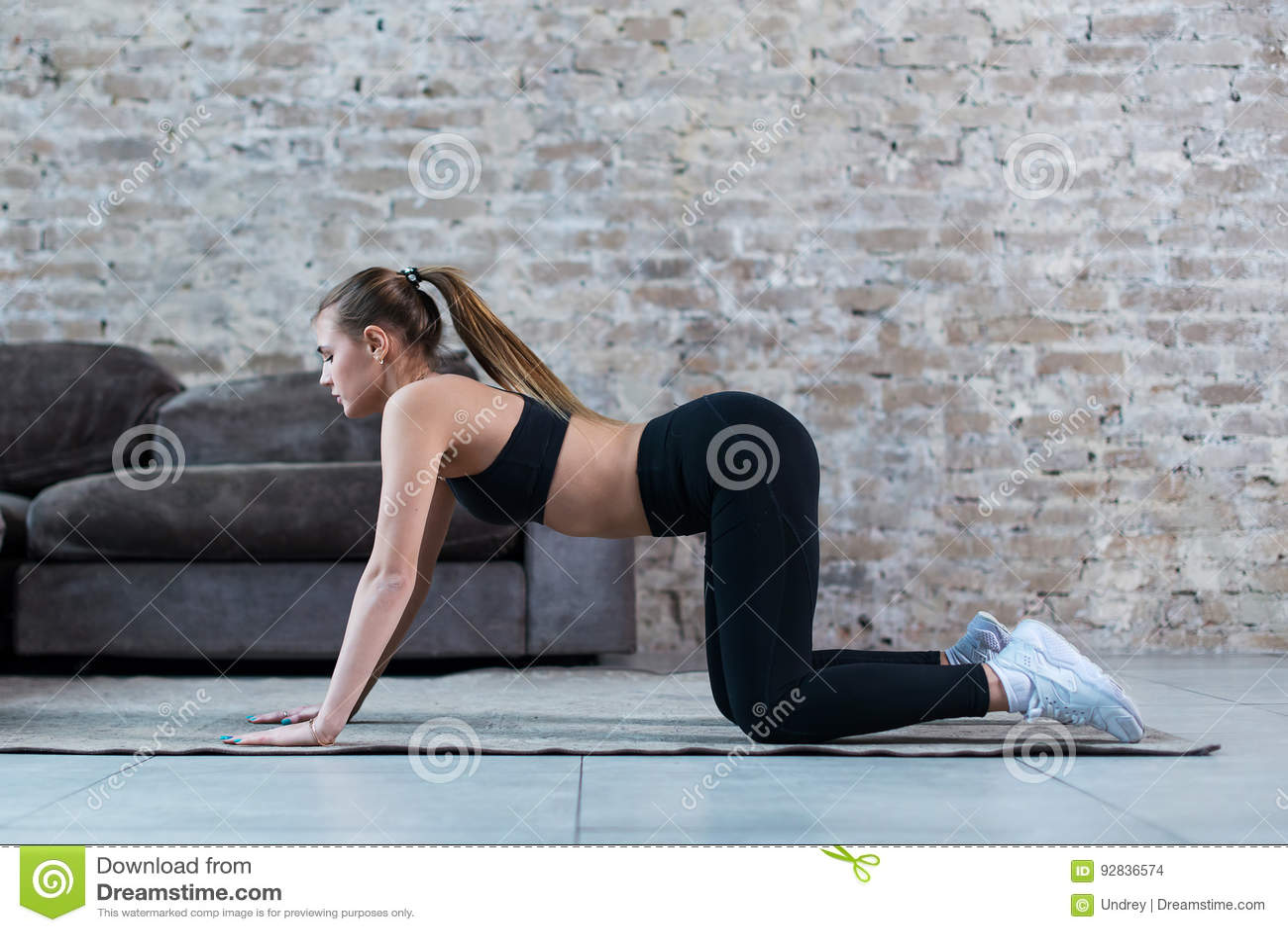 Praktiserande gymnastik för nätt slank idrottskvinna som gör övningar som inomhus står på alla fours
