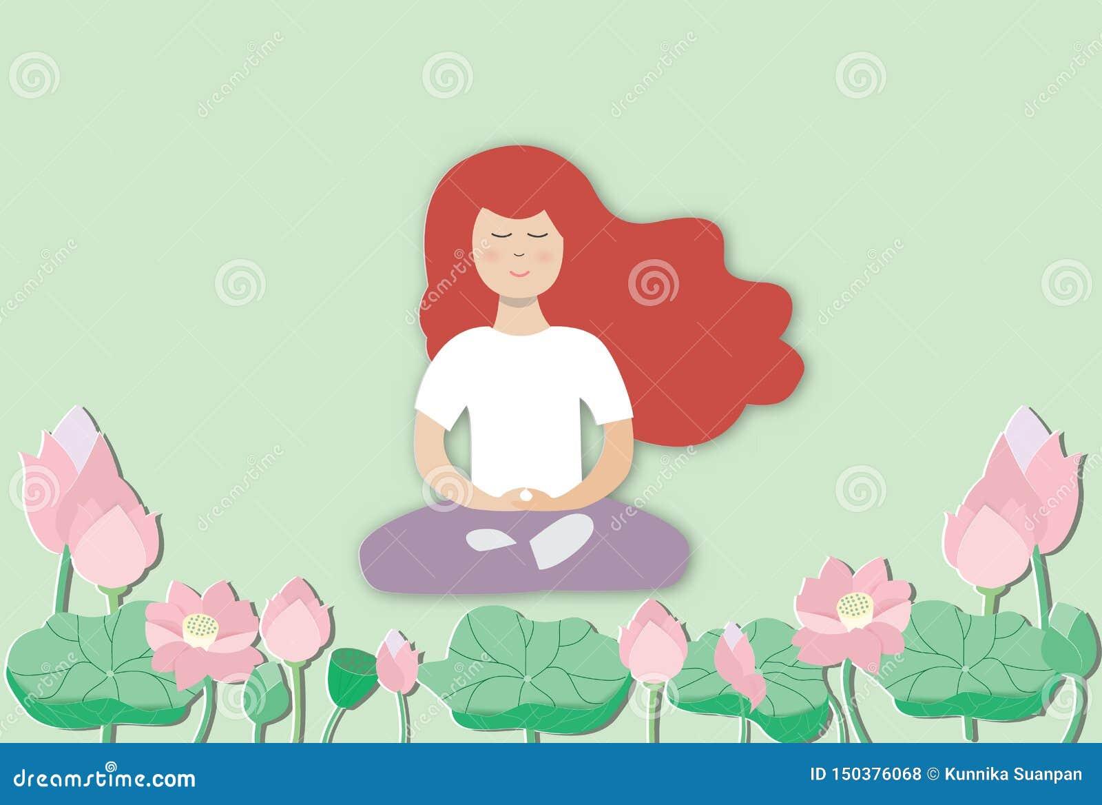 Praktiserande meditation f?r ung kvinna