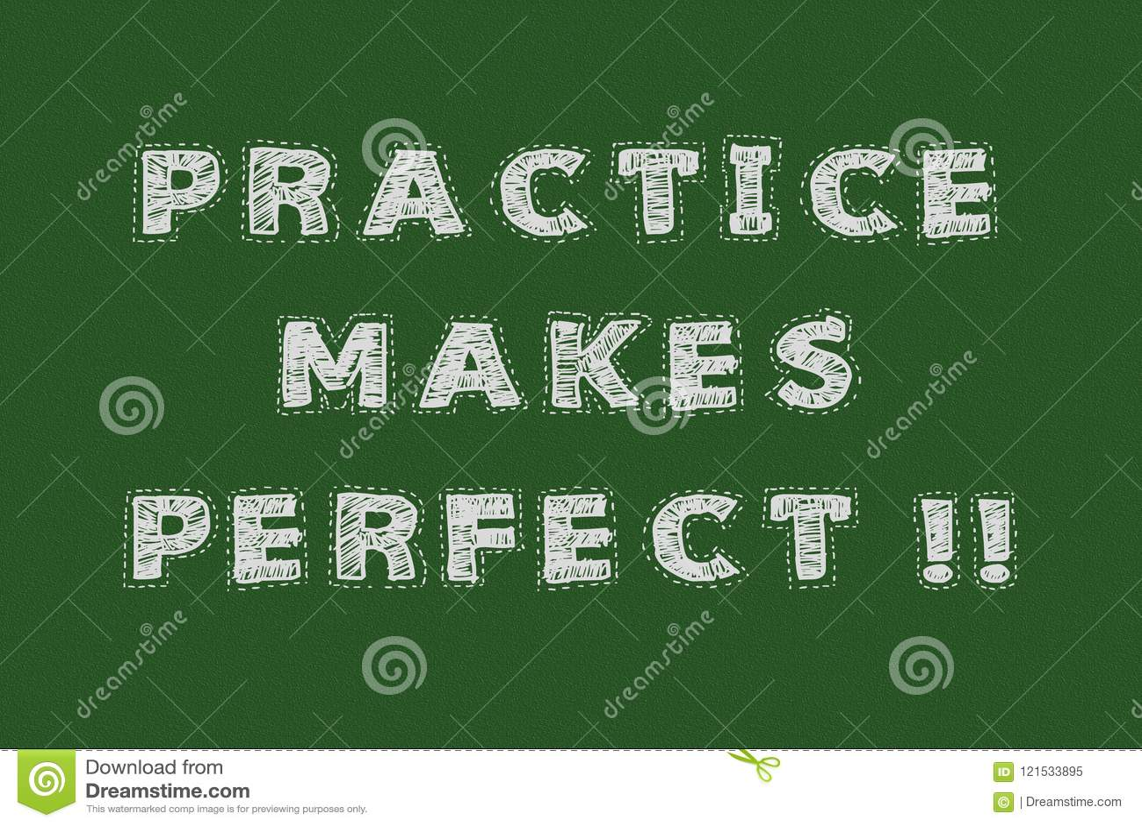 Praktyka robi perfect chalkboard typografii motywacyjnemu pojęciu dla strony internetowej