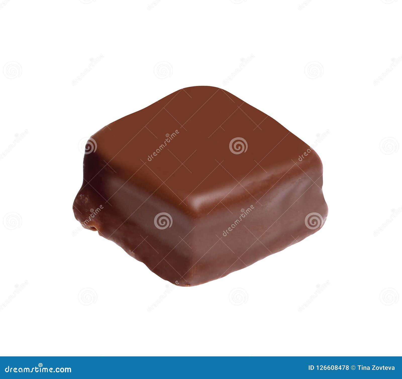 Praline de chocolat sur le blanc