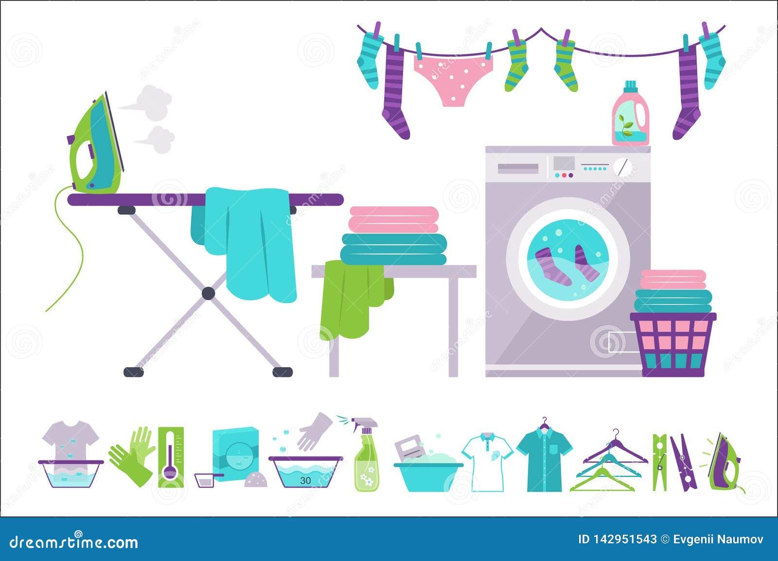 Pralniany pokój, pralka, kosz, żelazo, prasowanie deska, odzieżowa osuszka, czyści dostarcza wektorowe ilustracje na a