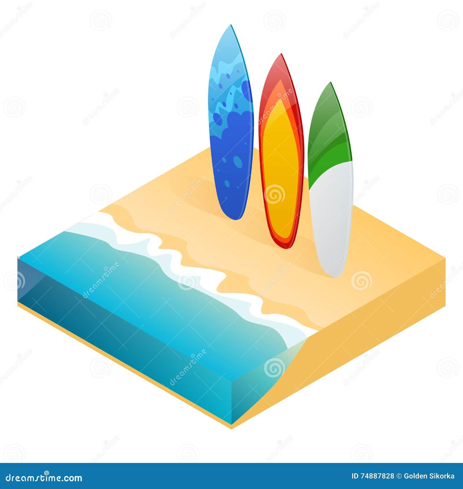 Prancha colorida moderna do vetor Prancha do feriado na praia do oceano