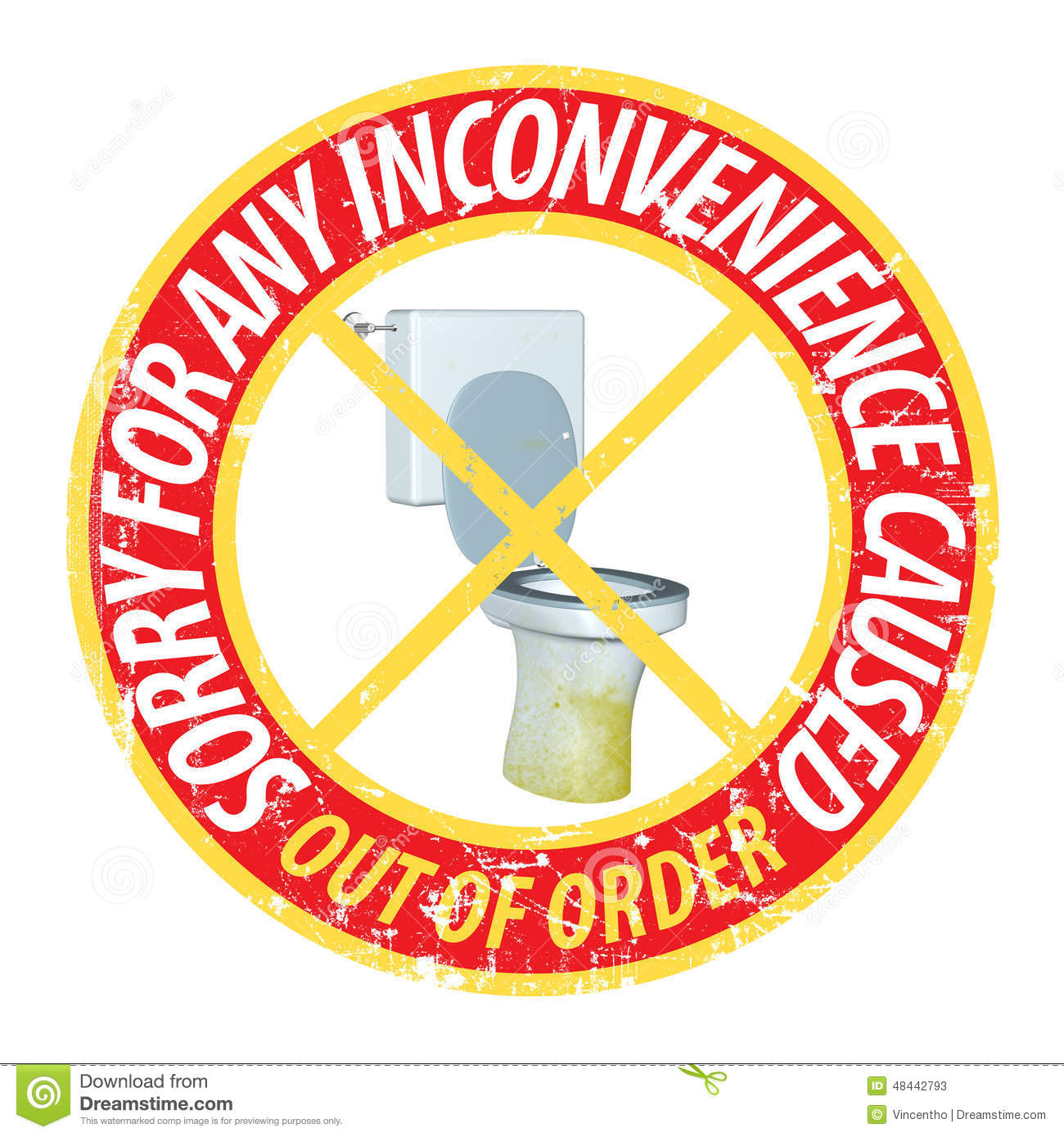 Bathroom out of order sign - Royalty Free Vector