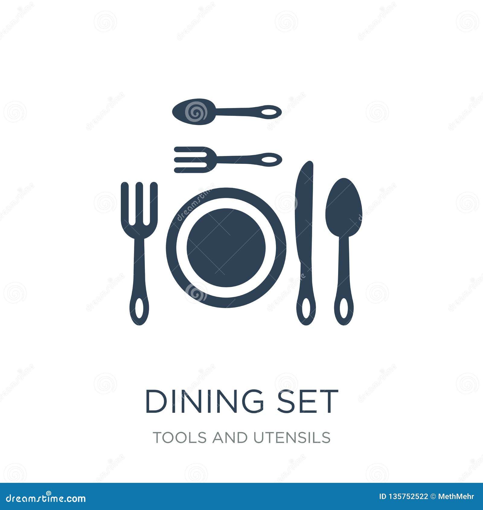Pranzare icona stabilita nello stile d avanguardia di progettazione pranzando icona stabilita isolata su fondo bianco pranzando l