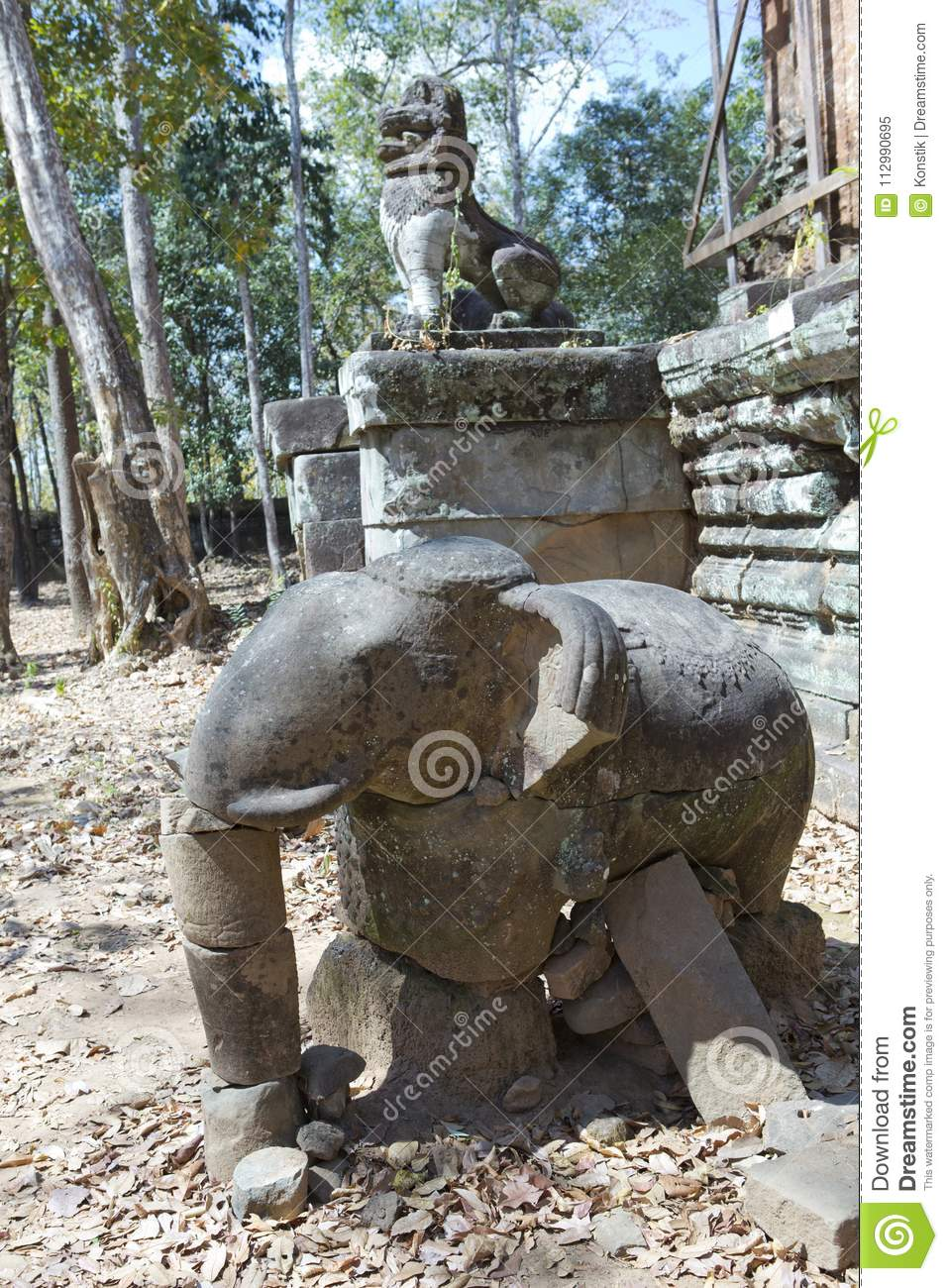 Prasat Damrei means Elephant temple ruin in the Koh Ker temple complex, Siem Reap, Cambodia