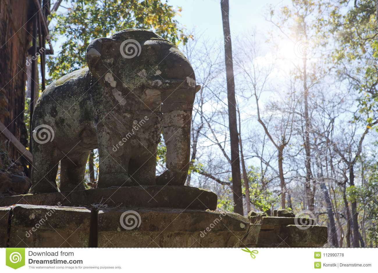 Prasat Damrei means Elephant temple ruin in the Koh Ker temple complex, Siem Reap, Cambodia