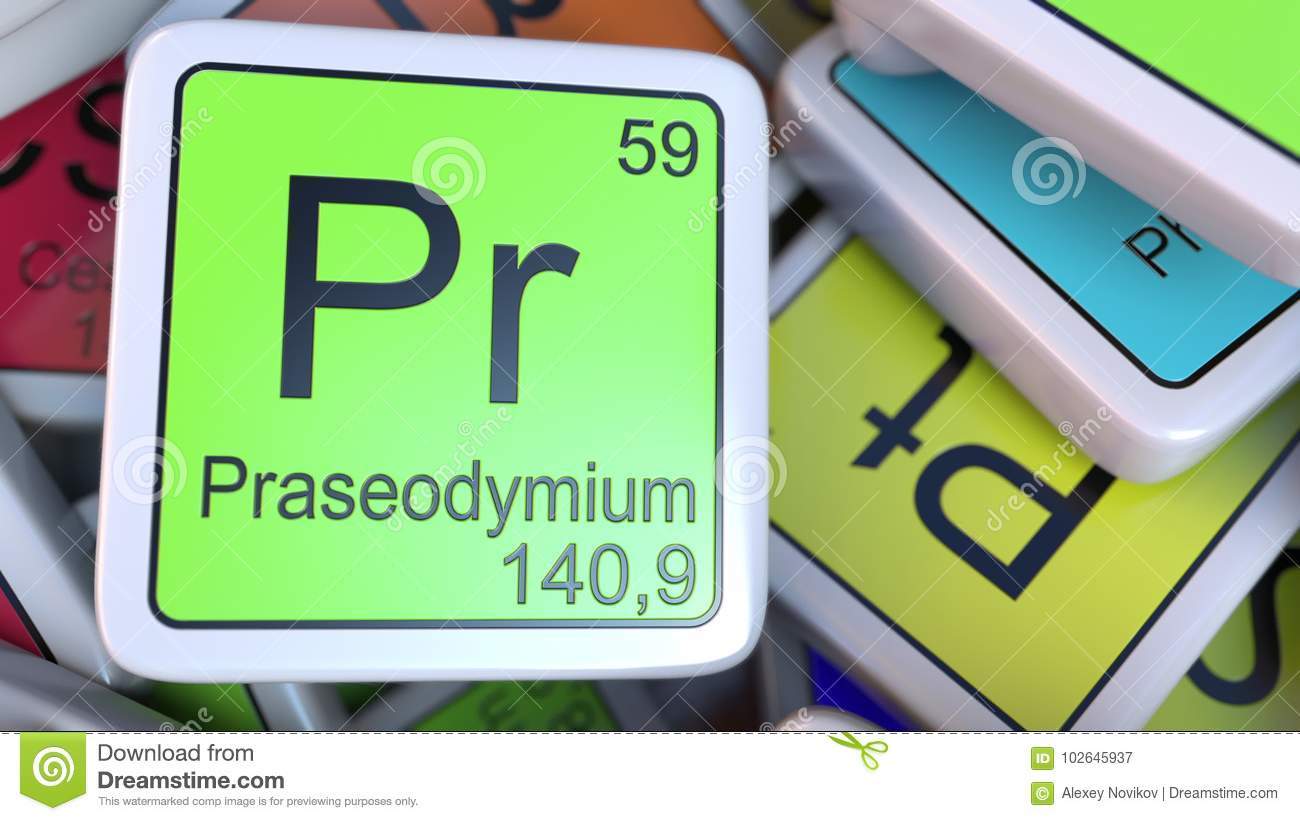 Praseodymium Pr Block On The Pile Of Periodic Table Of The Chemical