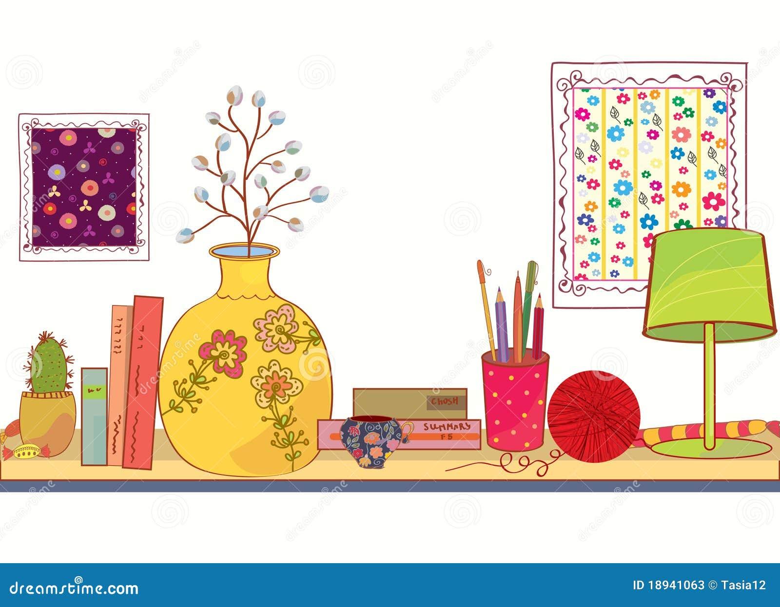 Prateleira com objetos do livro e da casa fotos de stock for Oggetti x la casa