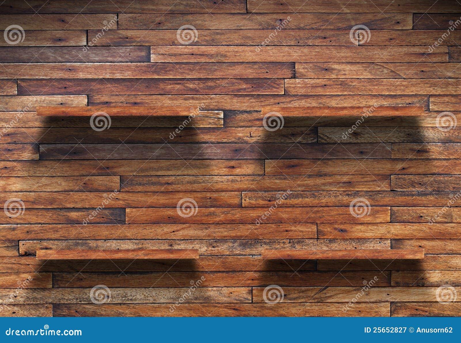 Prateleira De Madeira Na Parede De Madeira Fotografia de Stock Royalty  #82A229 1300x983