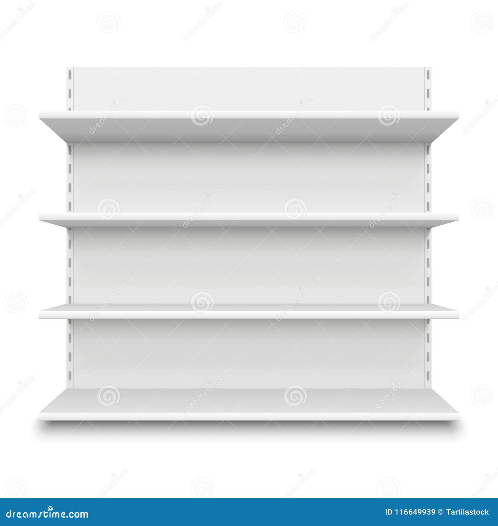 Prateleira vazia do supermercado Prateleiras vazias brancas da loja para a mercadoria Ilustração isolada do vetor do suporte do s