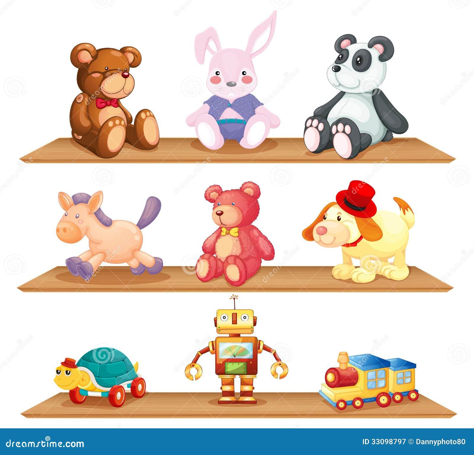Prateleiras de madeira com brinquedos diferentes - Estantes para juguetes ...