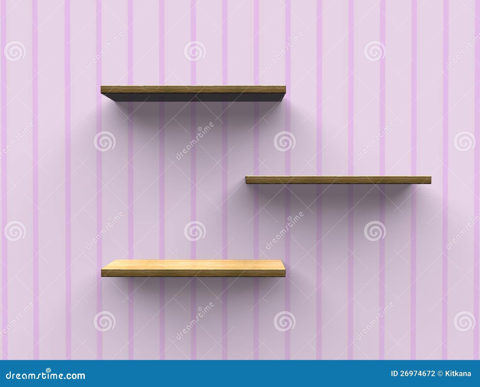 Prateleiras De Madeira Da Parede Fotografia de Stock Imagem  #B28219 1300x1065