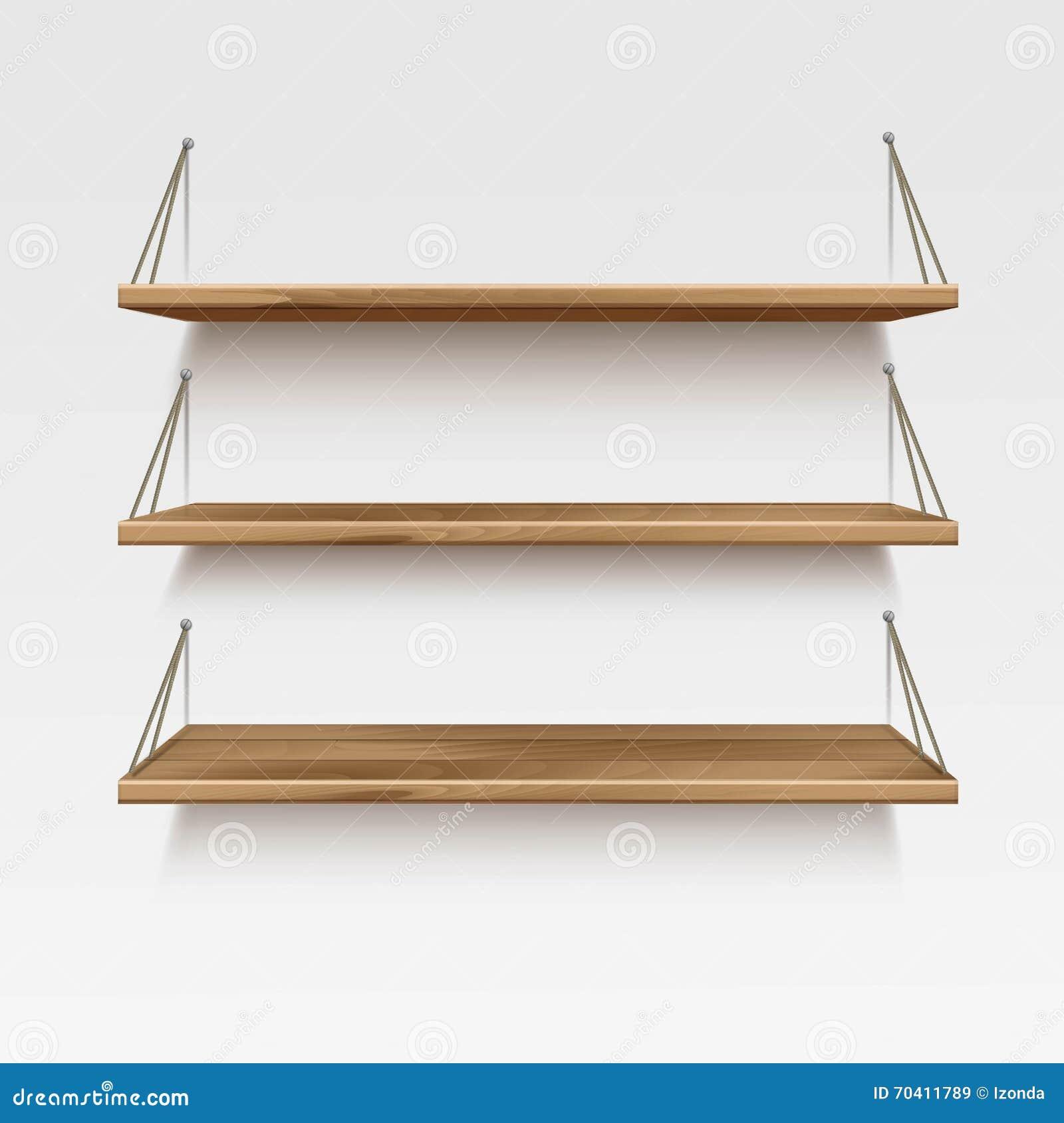 Prateleiras de madeira de madeira vazias da prateleira do vetor no  #532D12 1300x1390