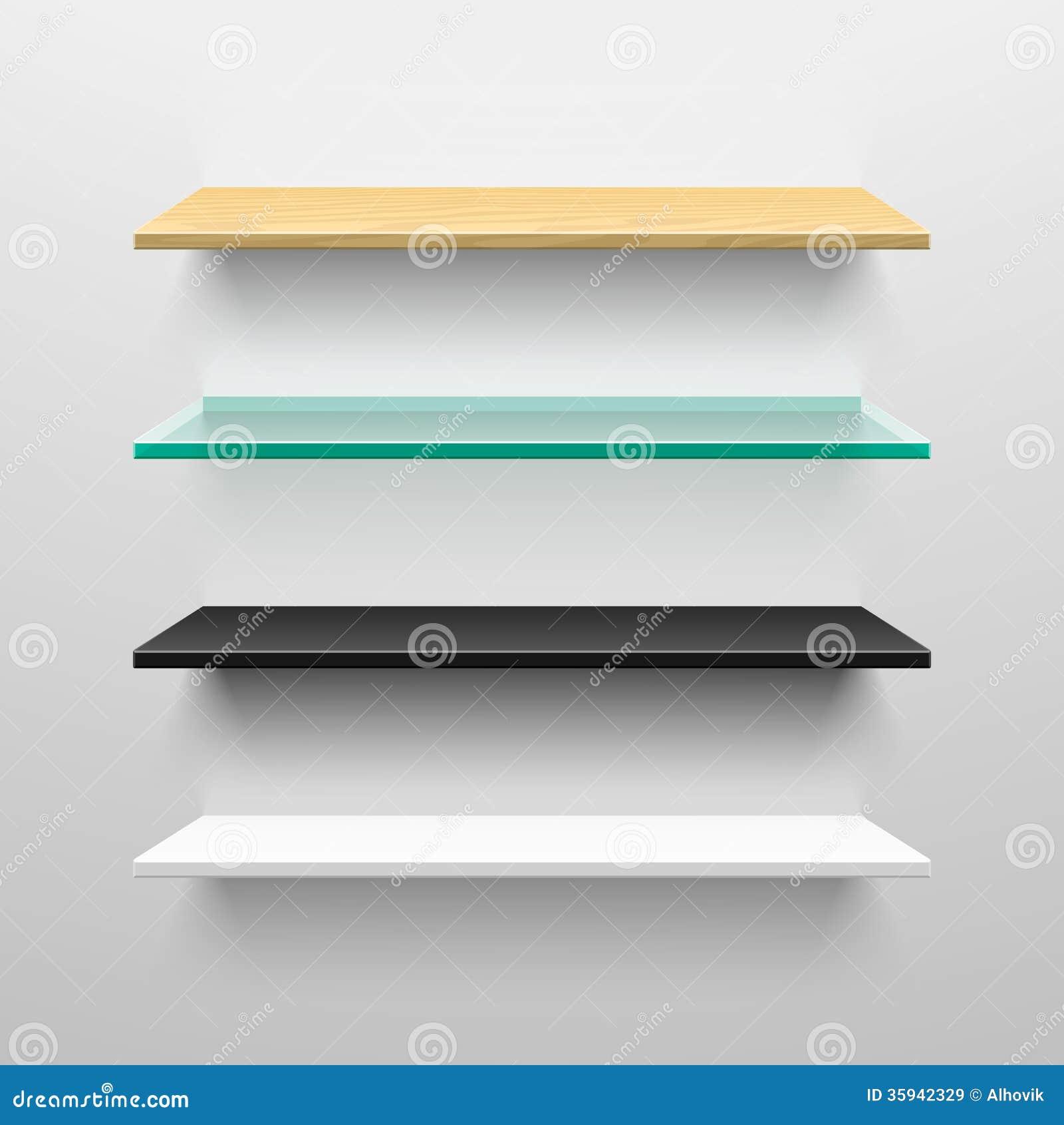 Prateleiras De Madeira De Vidro Preto E Branco Imagens de Stock  #089379 1300x1390