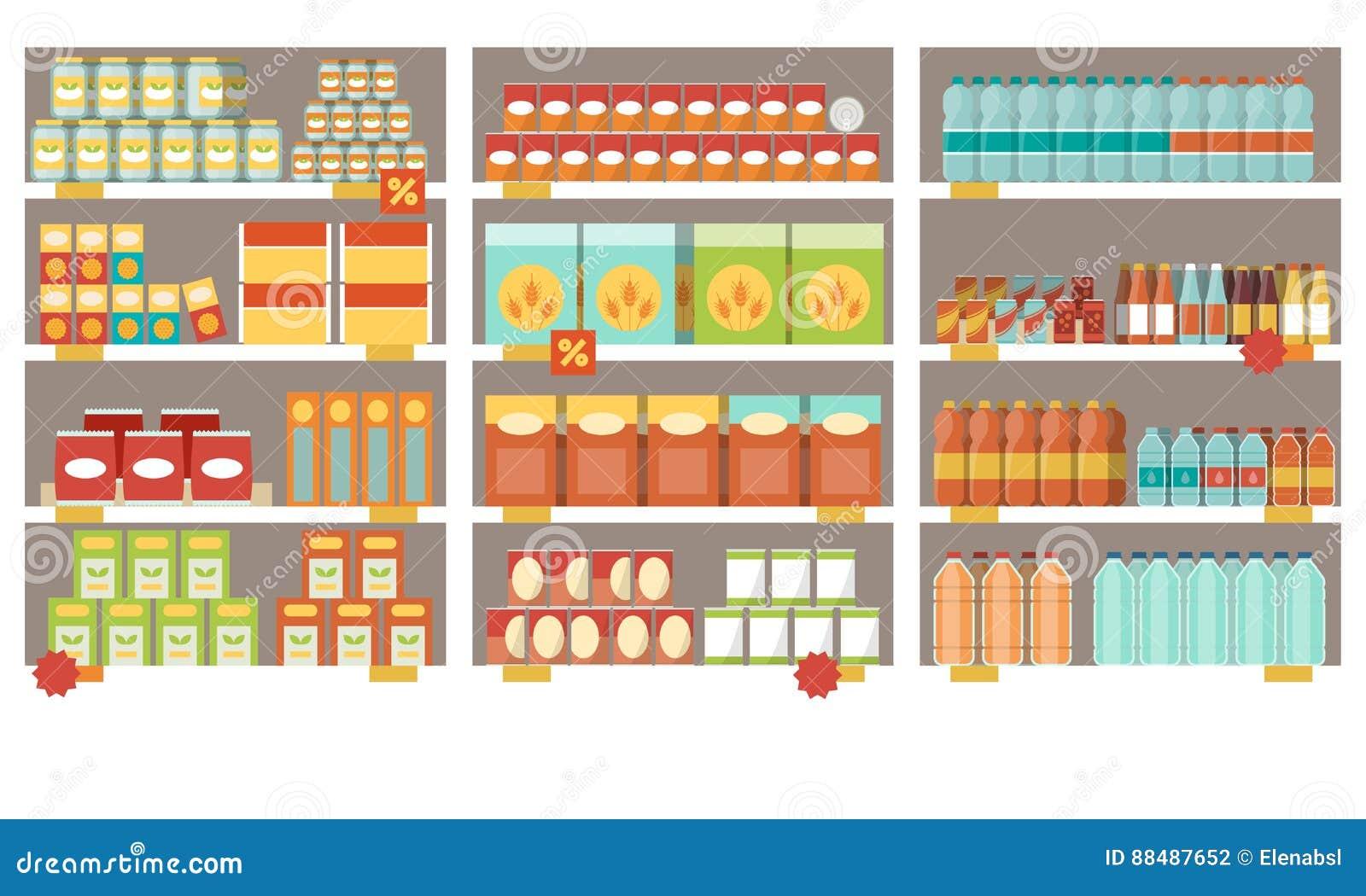 Prateleiras do supermercado