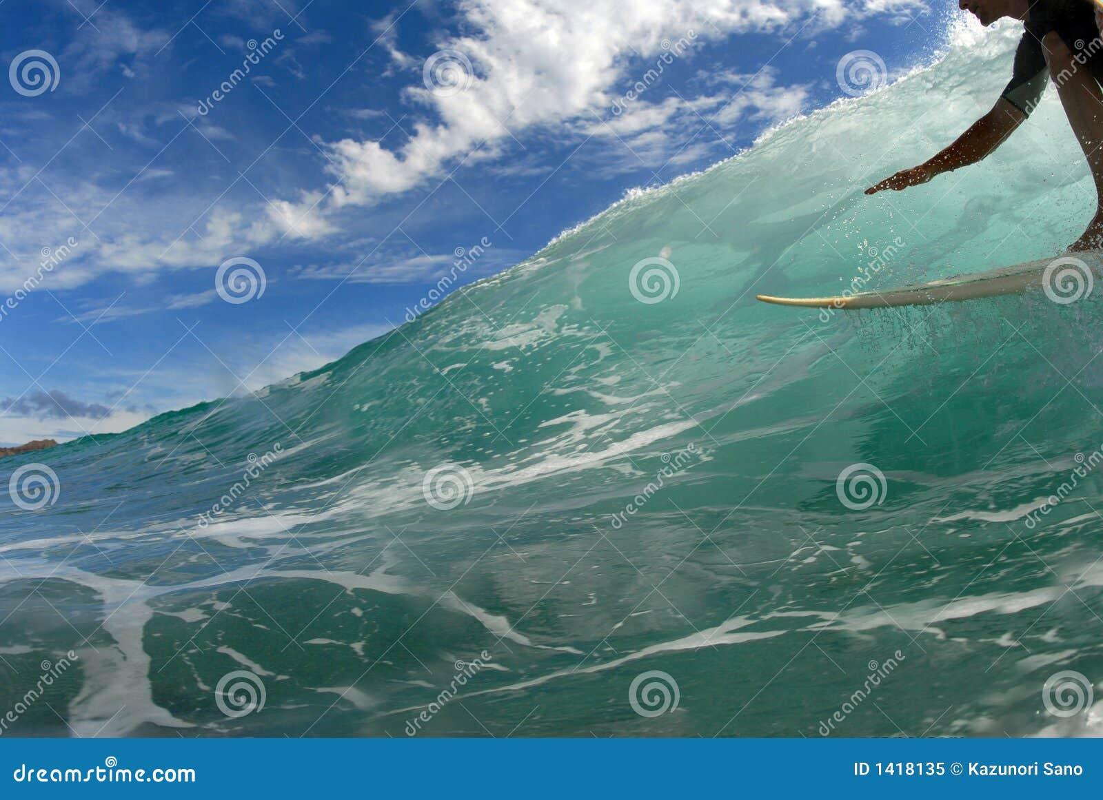Praticando il surfing giù la riga