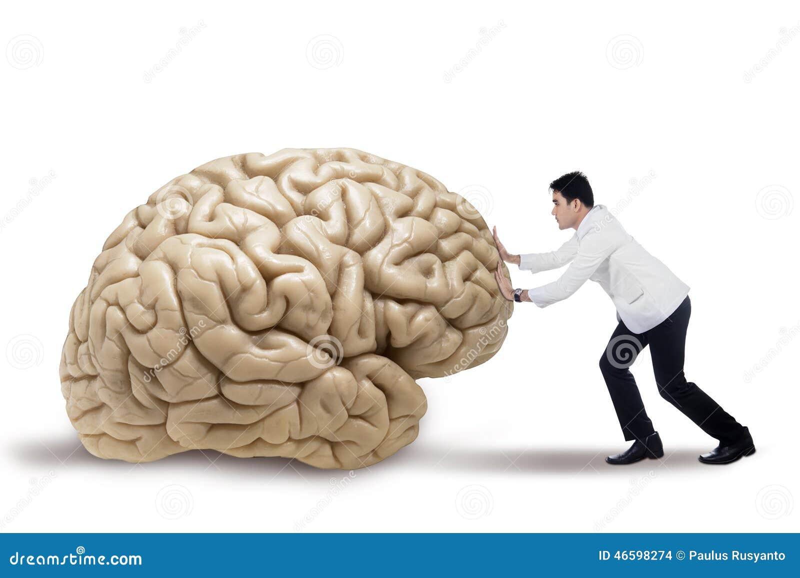 Praticien poussant un cerveau