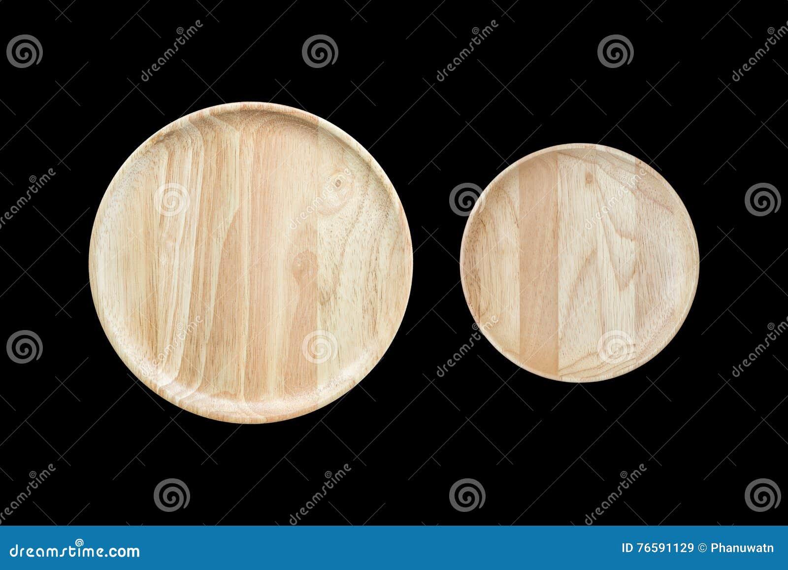 Prato de madeira vazio brilhante da vista superior isolado no branco Salvar com