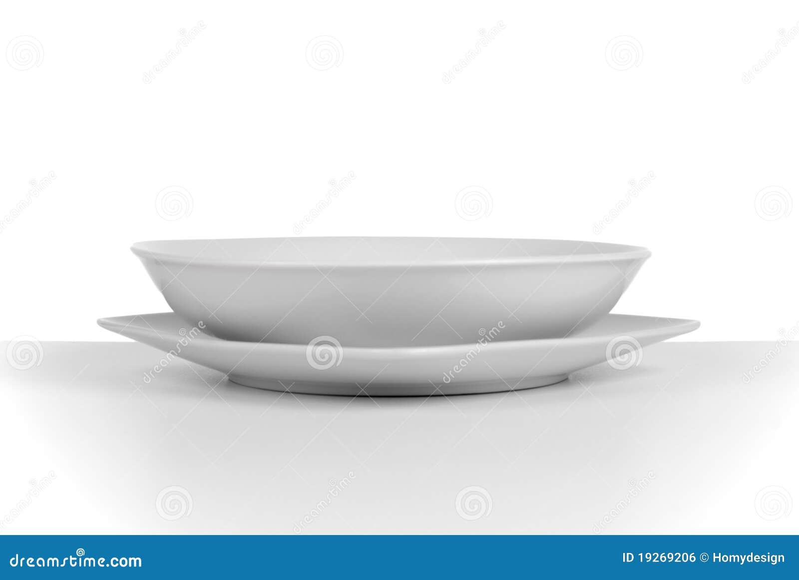 Prato de sopa cerâmico branco vazio