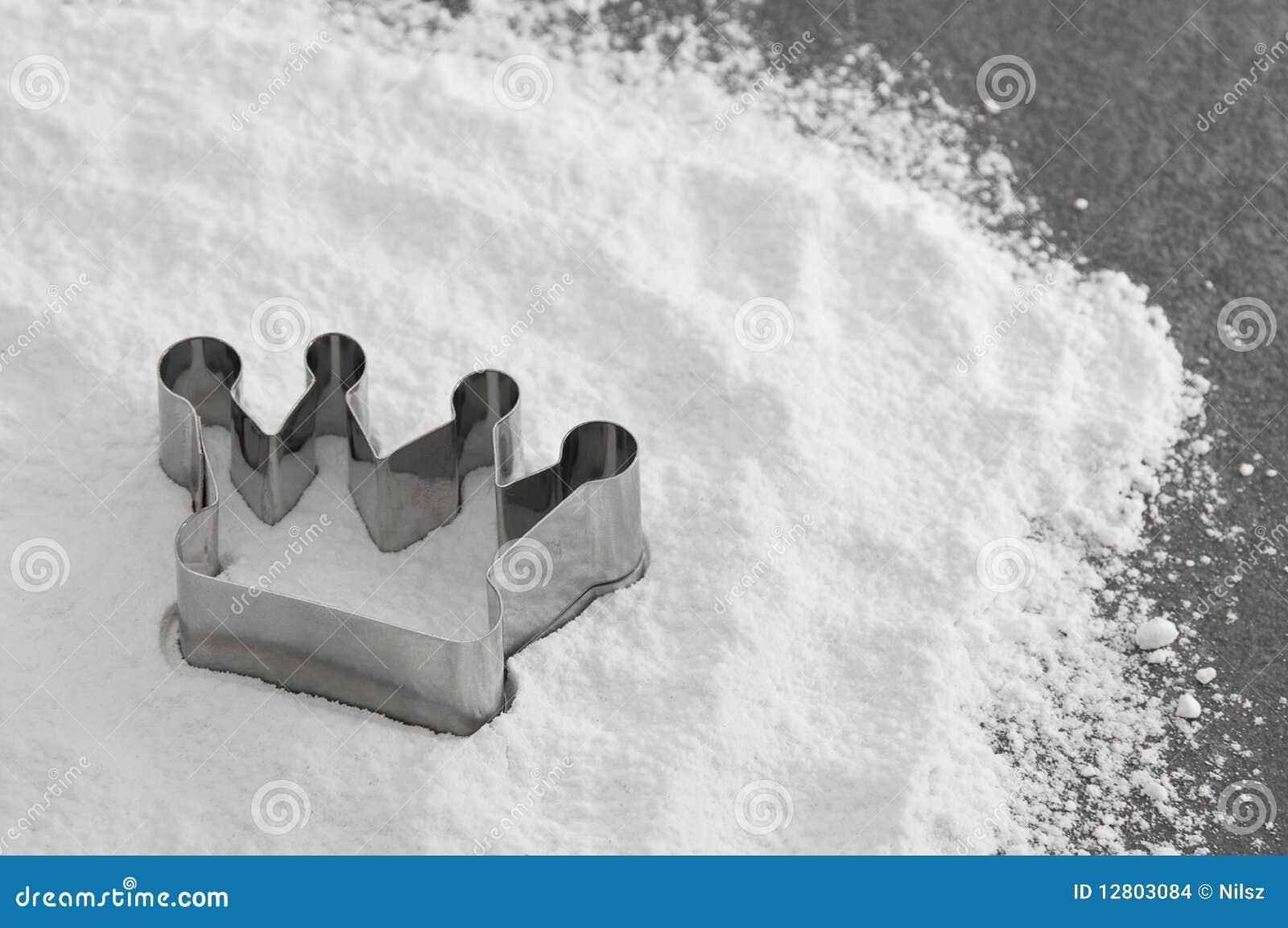 Prato do cozimento da coroa na farinha