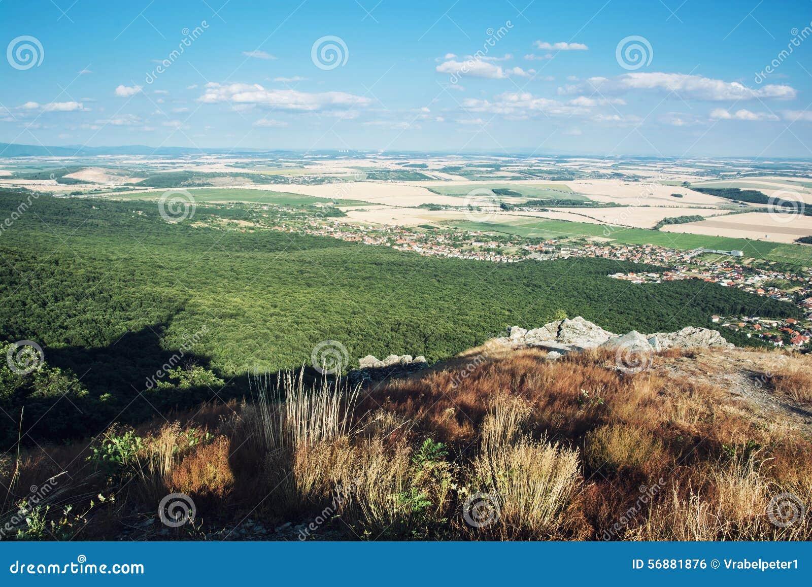 Prato, foresta, campo, villaggi, nuvole