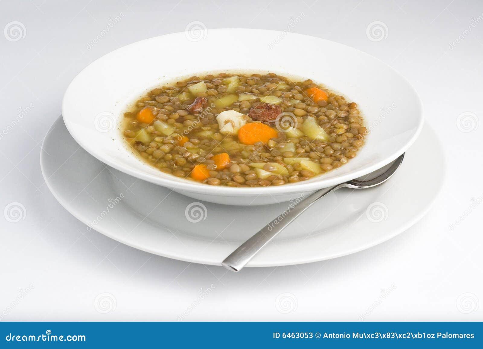 Prato quente caseiro das lentilhas