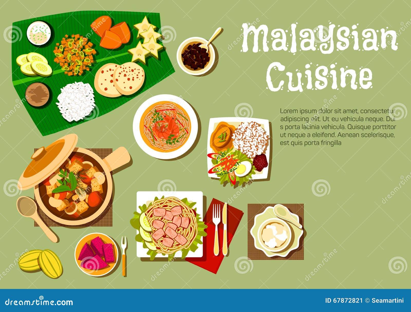 Pratos malaios da culinária e sobremesas saborosos
