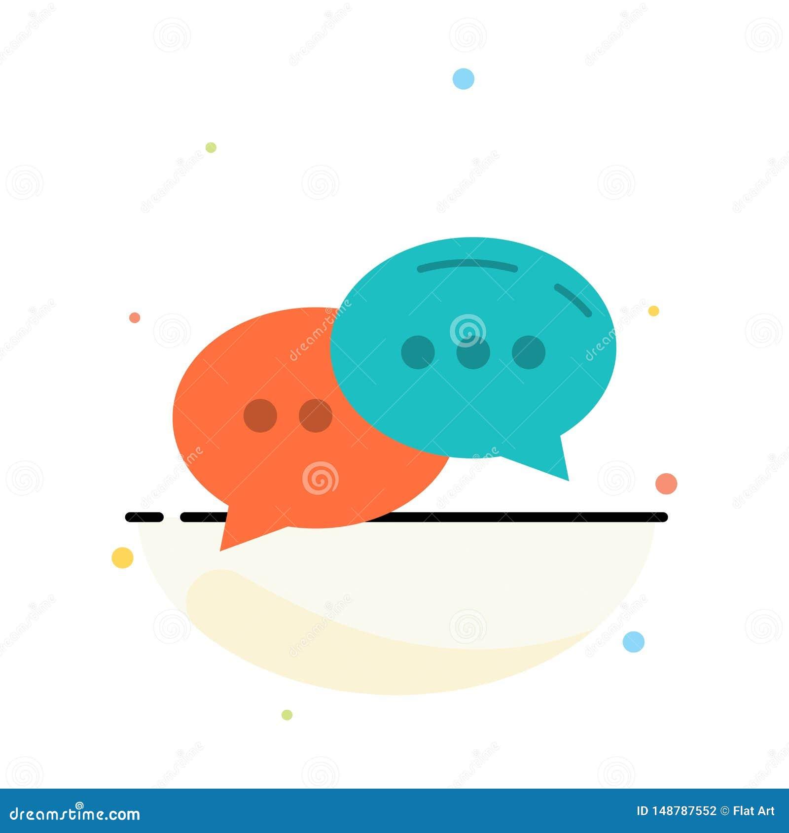 Pratstund som pratar, konversation, för färgsymbol för dialog abstrakt plan mall