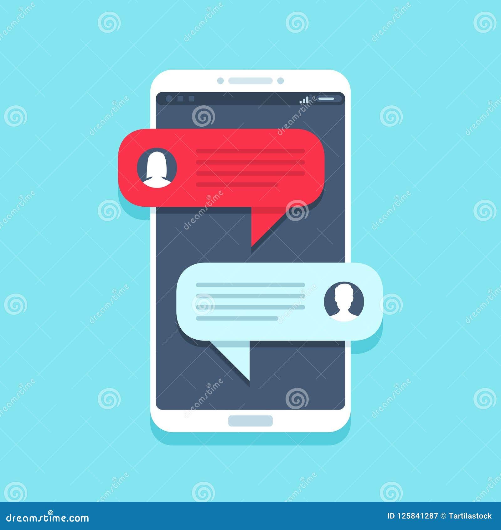 Pratstundmeddelande på smartphonen Att prata för mobiltelefon, smsande meddelanden för folk och sms bubblar på lägenhet för telef