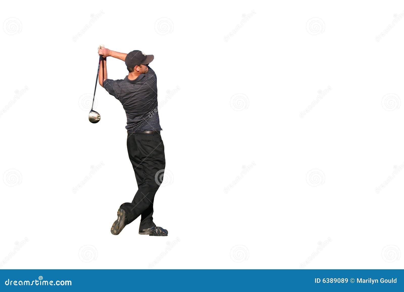 Prawdziwy golfiarz strzału odizolowane tee