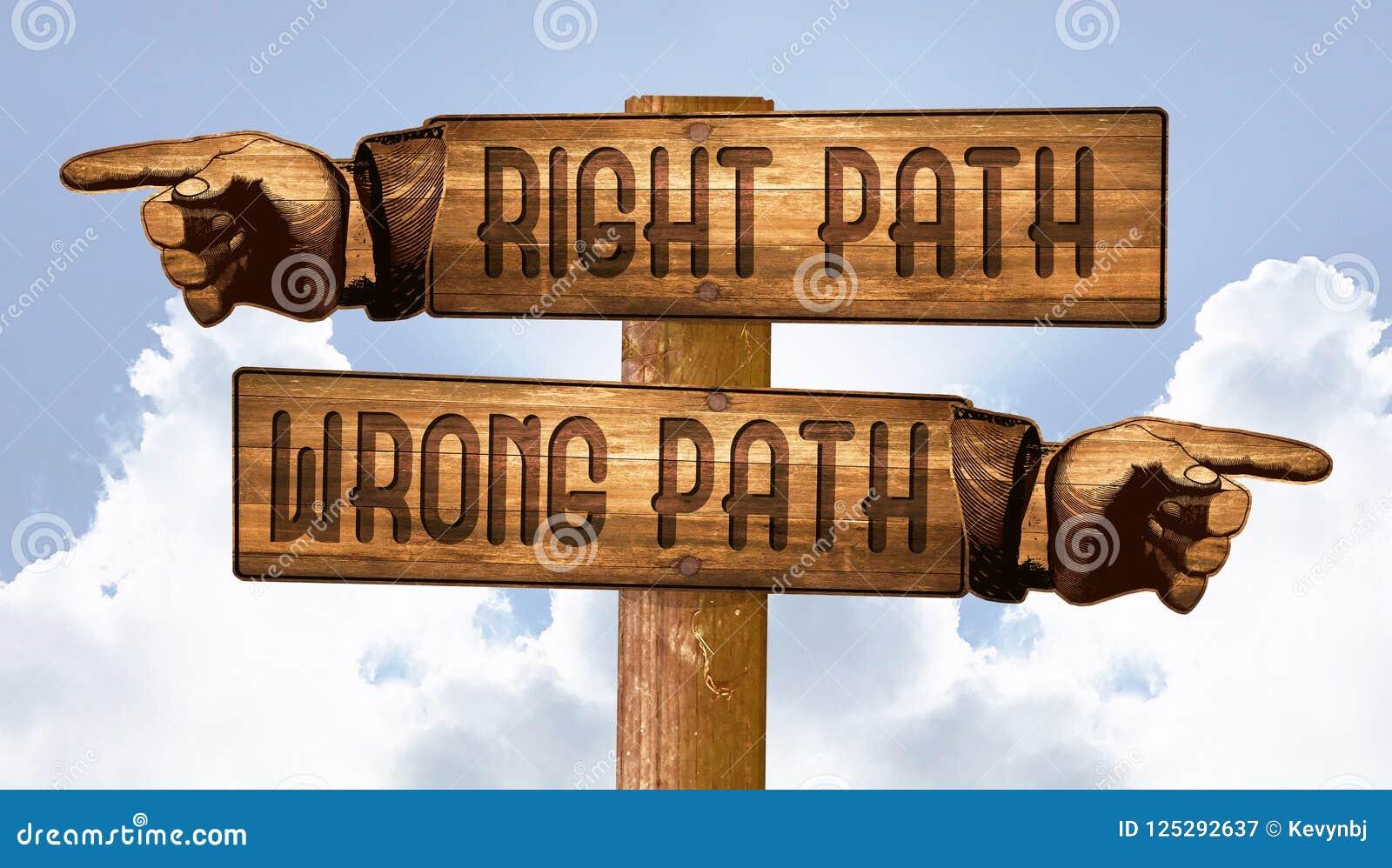Prawi ścieżki Mylnej ścieżki Szyldowi Wskazuje palce Q&A
