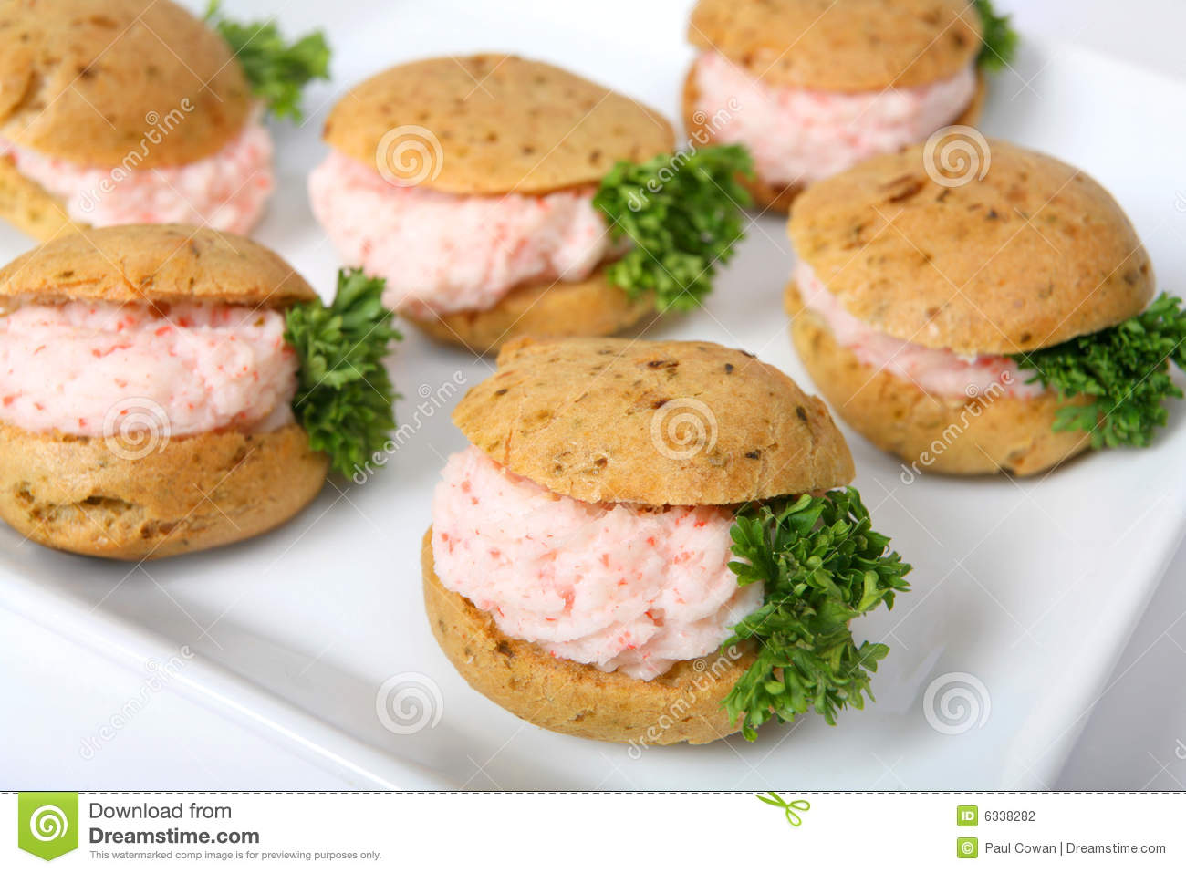 Prawn meat canapes stock photo image of closeup parsley for Canape fillings