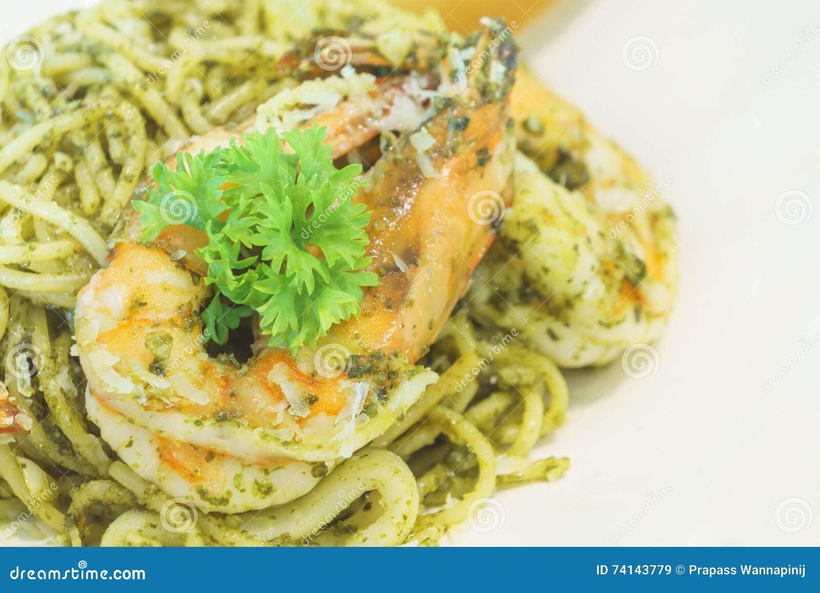 Pasta Pesto Prawn Sauce Scallop