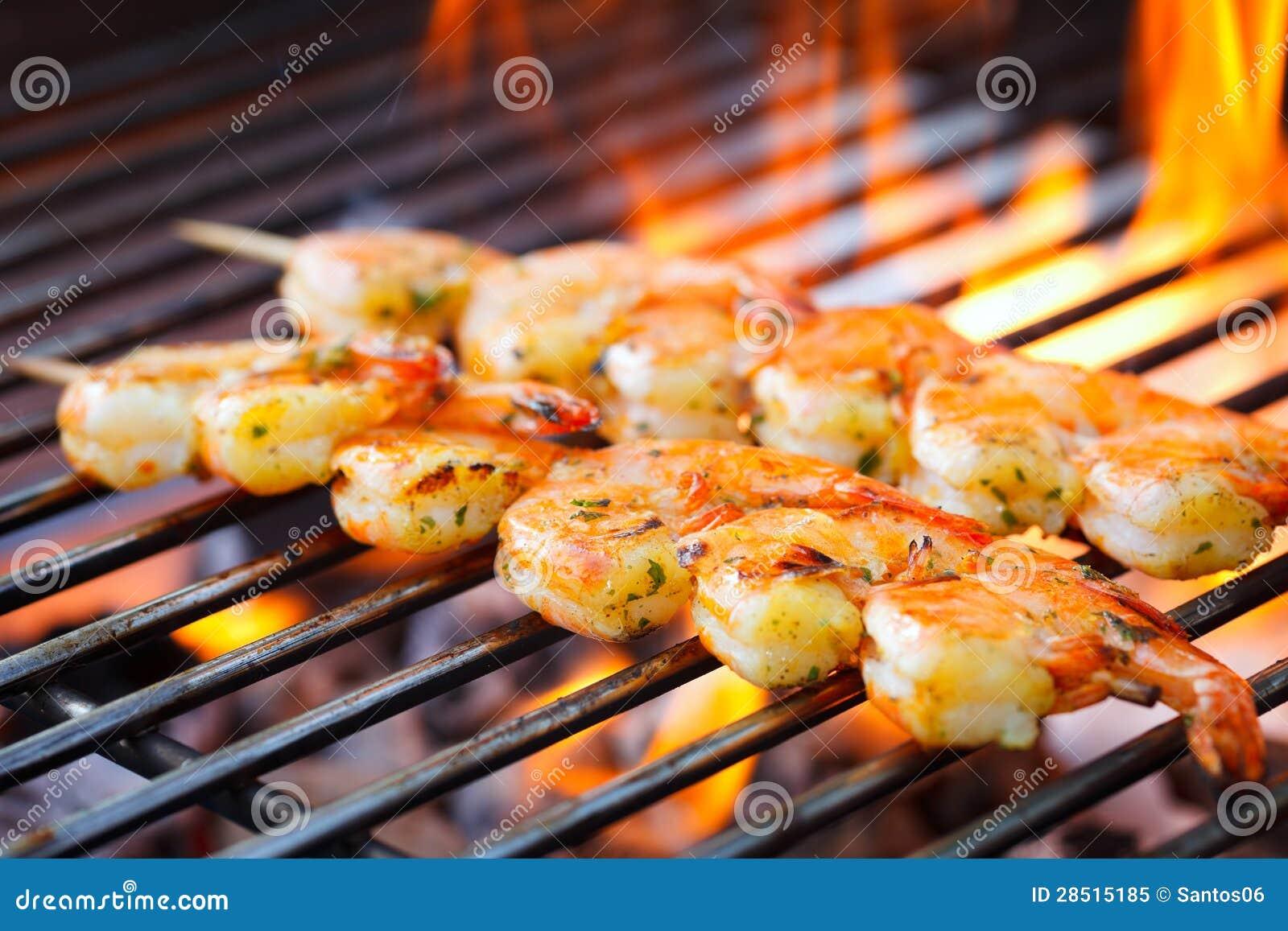 Prawn spit on grill